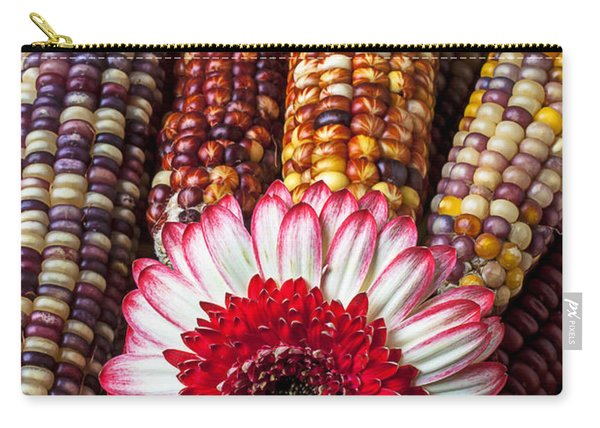 Red And White Mum With Indian Corn Carry-all Pouch
