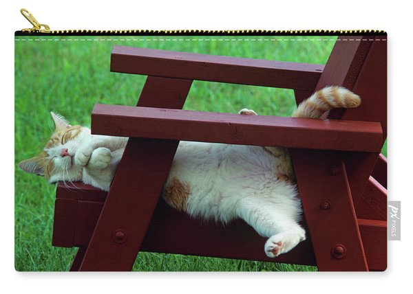 Red And White Tabby Cat Asleep On Chair Carry-all Pouch