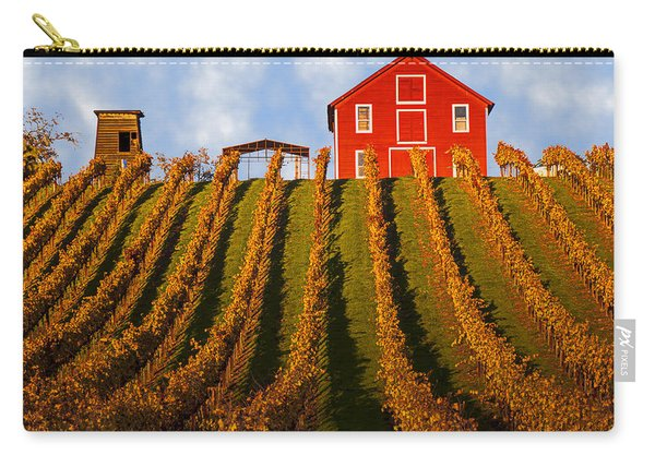 Red Barn In Autumn Vineyards Carry-all Pouch