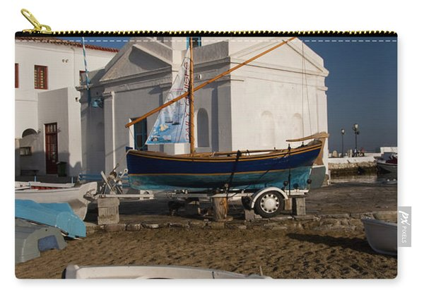 Red Boat In Mykonos At Dawn Carry-all Pouch