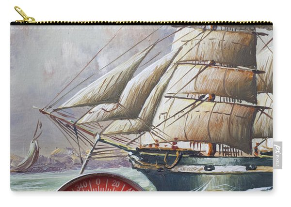 Red Compass On Ship Painting Carry-all Pouch