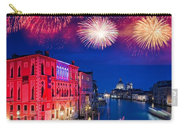Red Fireworks In Venice Carry-all Pouch