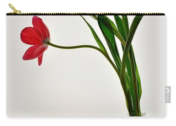 Red Flowers In Glass Vase Carry-all Pouch