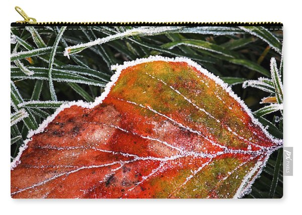 Red Frosty Leaf On Frozen Ground Carry-all Pouch