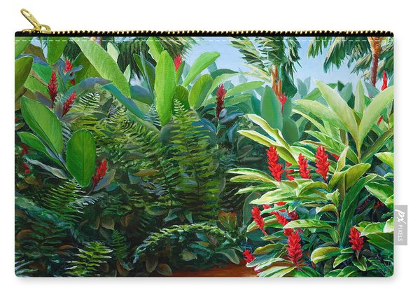 Tropical Jungle Landscape - Red Garden Hawaiian Torch Ginger Wall Art Carry-all Pouch