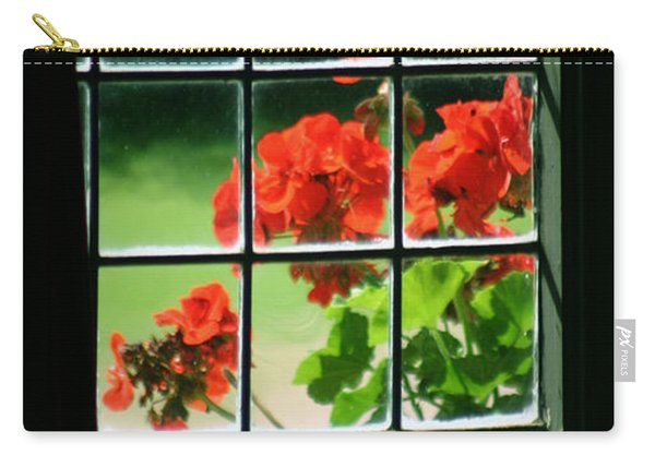 Red Geranium Through Leaded Window Carry-all Pouch
