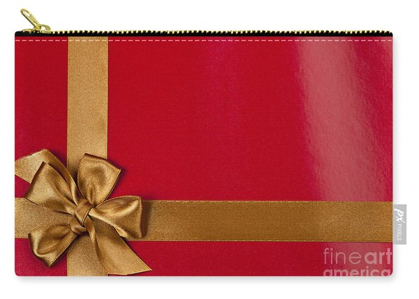 Red Gift Background With Gold Ribbon Carry-all Pouch