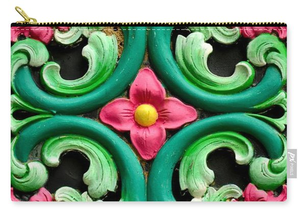 Red Green And Blue Floral Design Singapore Carry-all Pouch