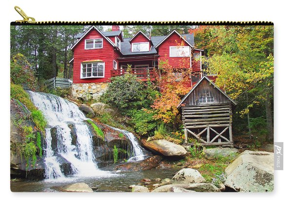 Red House By The Waterfall Carry-all Pouch