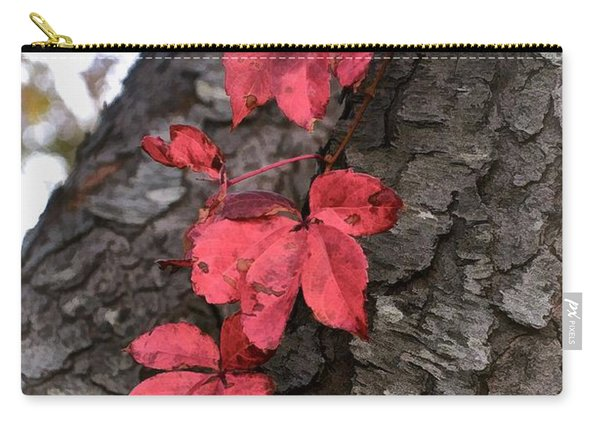Red Leaves On Bark Carry-all Pouch