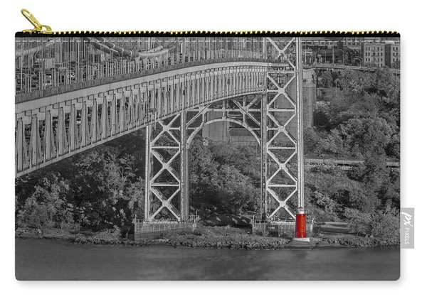 Red Lighthouse And Great Gray Bridge Bw Carry-all Pouch