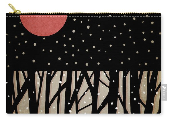 Red Moon And Snow Carry-all Pouch