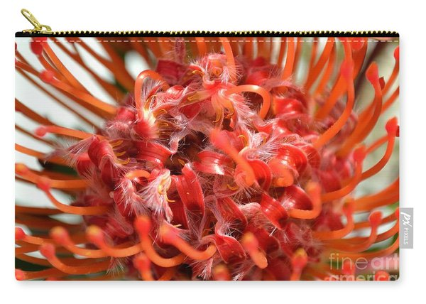 Carry-all Pouch featuring the photograph Red Pincushion Close Up by Scott Lyons