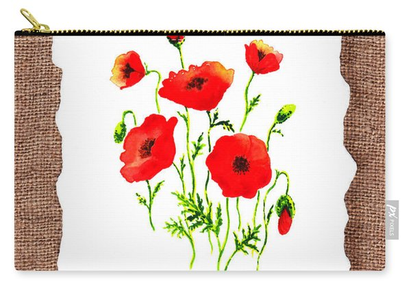 Red Poppies Decorative Collage Carry-all Pouch