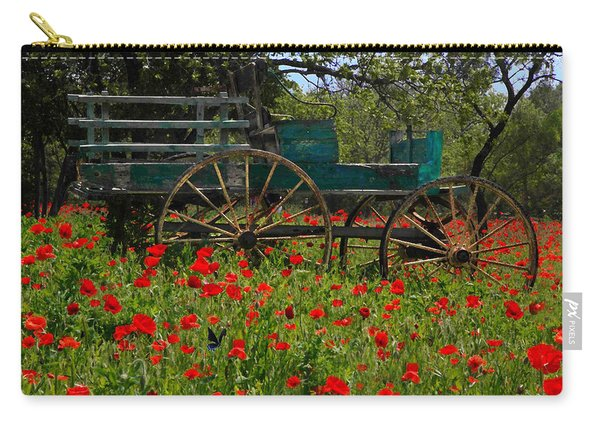 Red Poppies With Wagon Carry-all Pouch