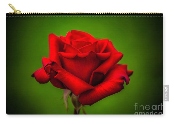 Red Rose Green Background Carry-all Pouch