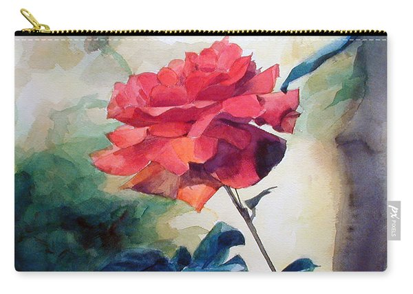 Watercolor Of A Single Red Rose On A Branch Carry-all Pouch