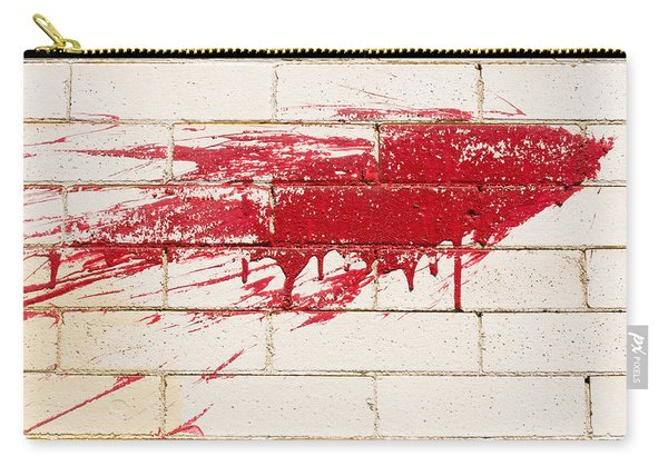 Red Splash On Brick Wall Carry-all Pouch