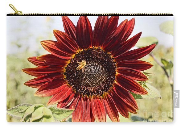 Red Sunflower And Bee Carry-all Pouch