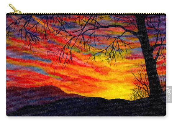 Carry-all Pouch featuring the painting Red Sunset by Nancy Cupp