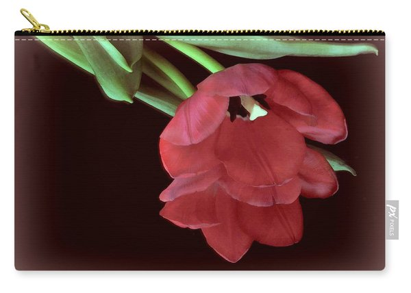 Red Tulip On Burgundy Carry-all Pouch