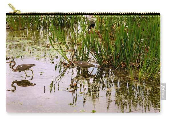 Reflection Of Cranes On Water, Boynton Carry-all Pouch