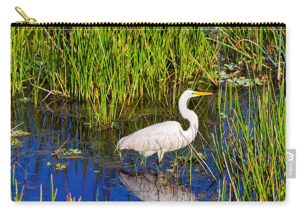 Reflection Of White Crane In Pond Carry-all Pouch
