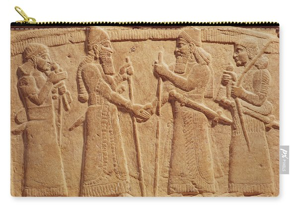 Relief Depicting King Shalmaneser IIi 858-824 Bc Of Assyria Meeting A Babylonian Stone Carry-all Pouch