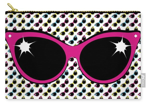 Retro Pink Cat Sunglasses Carry-all Pouch