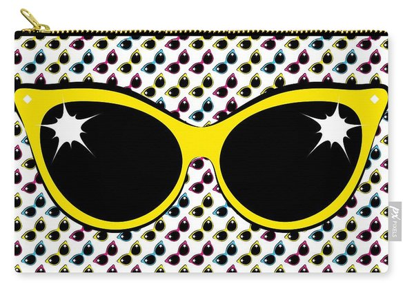 Retro Yellow Cat Sunglasses Carry-all Pouch