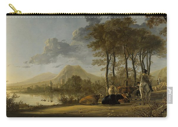 River Landscape With Horseman And Peasants Carry-all Pouch