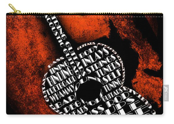 Rockin Guitar In Orange Carry-all Pouch