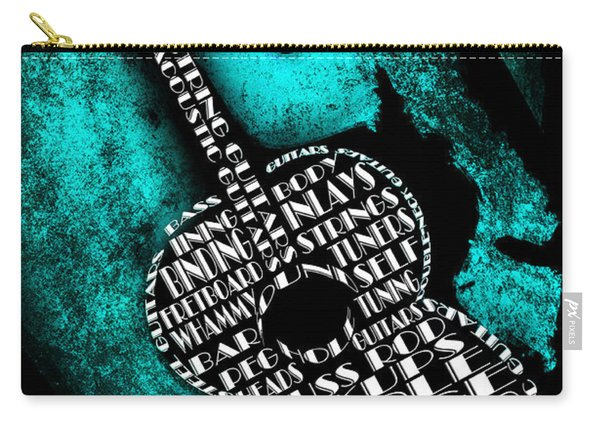 Rockin Guitar In Teal Carry-all Pouch
