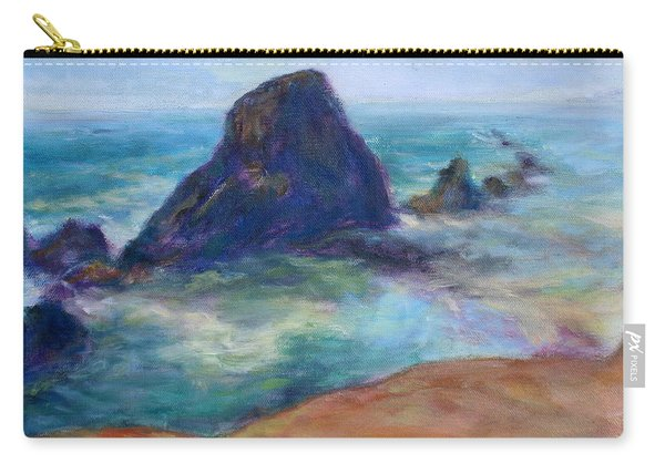 Rocks Heading North - Scenic Landscape Seascape Painting Carry-all Pouch