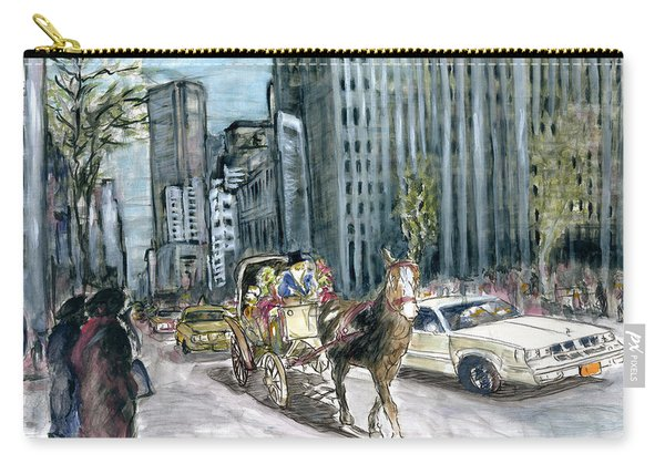 New York 5th Avenue Ride - Fine Art Painting Carry-all Pouch