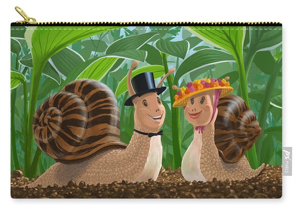 Carry-all Pouch featuring the painting Romantic Snails On A Date by Martin Davey