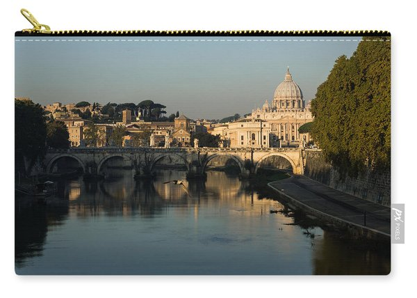 Rome - Iconic View Of Saint Peter's Basilica Reflecting In Tiber River Carry-all Pouch