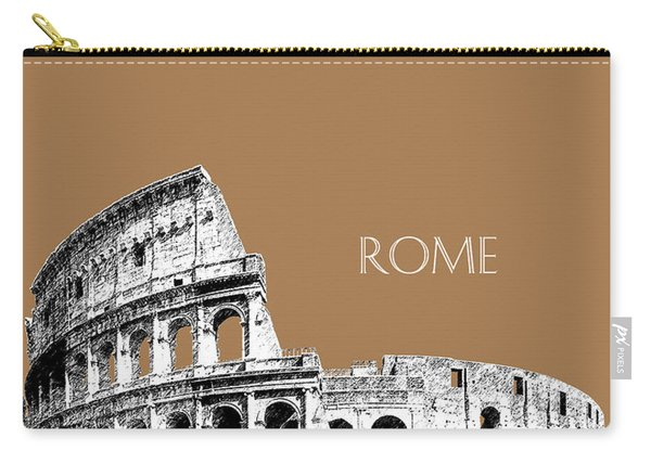 Rome Skyline The Coliseum - Brown Carry-all Pouch