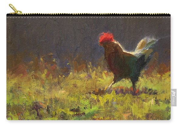 Rooster Strut - Impressionistic Chicken Landscape - Abstract Farm Art - Chicken Art - Farm Decor Carry-all Pouch