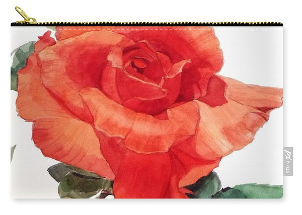 Watercolor Of A Single Red Rose I Call Red Rose Filip Carry-all Pouch