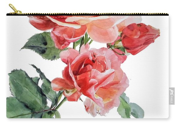 Watercolor Of Red Roses On A Stem I Call Rose Maurice Corens Carry-all Pouch