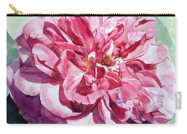 Watercolor Of A Pink Rose In Full Bloom Dedicated To Van Gogh Carry-all Pouch