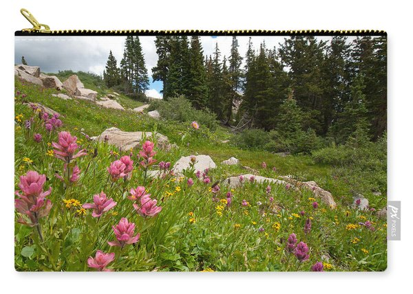 Rosy Paintbrush And Trees Carry-all Pouch