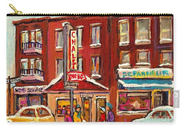 Rotisserie Le Chalet Bar B Q Sherbrooke West Montreal Winter City Scene Carry-all Pouch