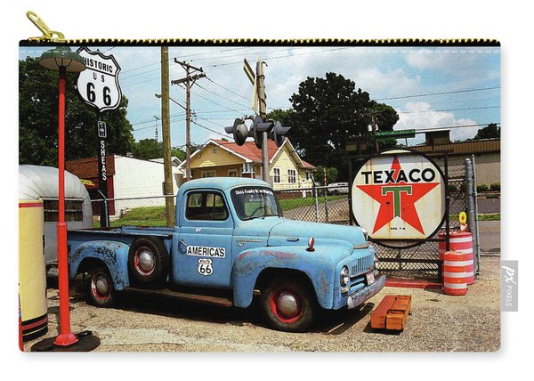 Route 66 - Gas Station With Watercolor Effect Carry-all Pouch
