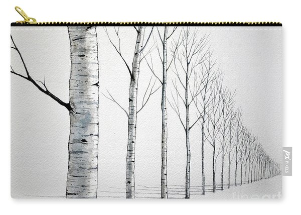 Row Of Birch Trees In The Snow Carry-all Pouch