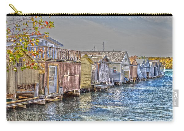 Carry-all Pouch featuring the photograph Row Of Boathouses by William Norton