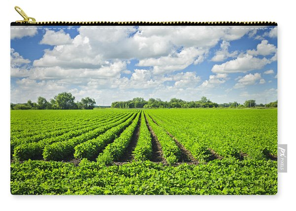 Rows Of Soy Plants In Field Carry-all Pouch