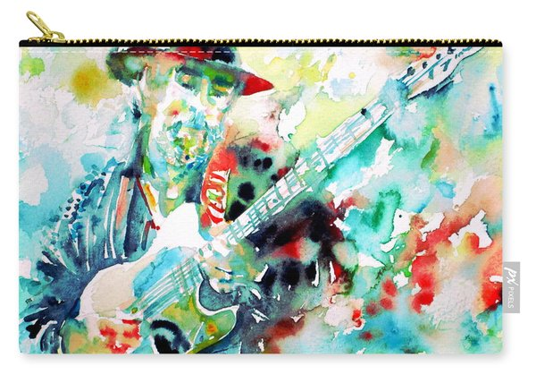 Roy Buchanan Playing The Guitar - Watercolor Portrait Carry-all Pouch