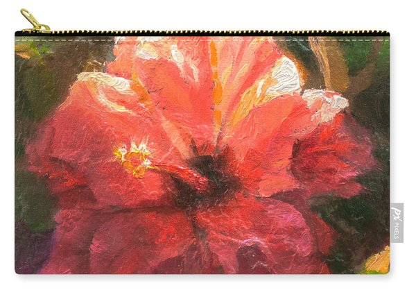 Ruffled Light Double Hibiscus Flower Carry-all Pouch